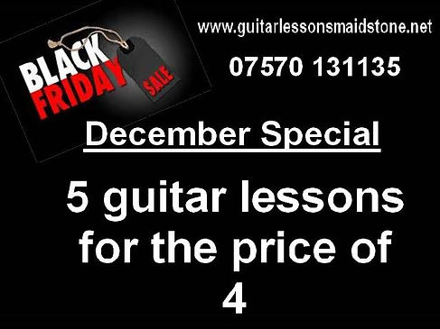 December special offer. 5 guitar lessons for the price of 4.
