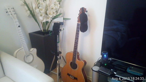 The picture shows where I keep my guitars to practice. Next to the TV and the sofa so that I can pick them up at any time and start playing.