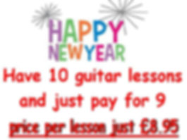New year's offer. Buy 9 guitar lessons and get one free.