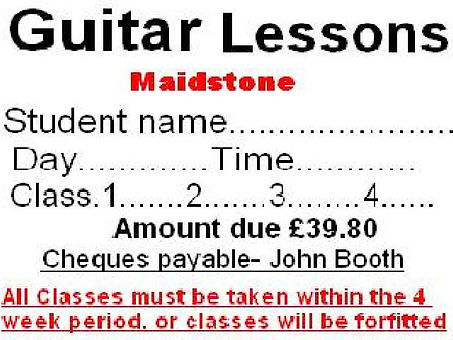 MONTHLY GUITAR CLASS INVOICE.