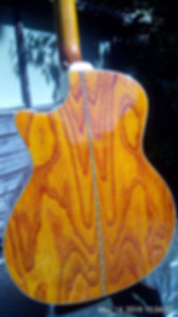 This is the back of the Crafter electro/acoustic guitar with the Zebra wood finish. It really looks great and sounds great played both acousticaly or through an amplifier.