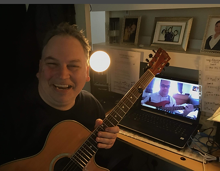 Me giving Lee a guitar lesson online.