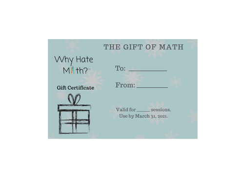 Math Tutoring Gift Certificate Value $120