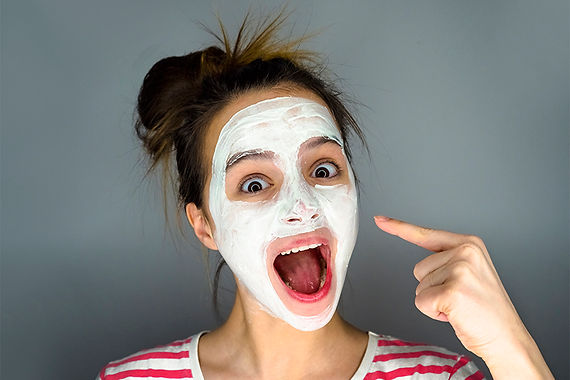 happy girl with face masks, get rid of deep acne scars, remove acne scars, remove acne discoloration, pitted acne skin fix