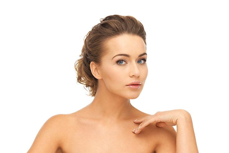 chest rejuvenation, chest microneedling treatment, shoulder skin treatment, neckline skin treatment, pretty woman posing