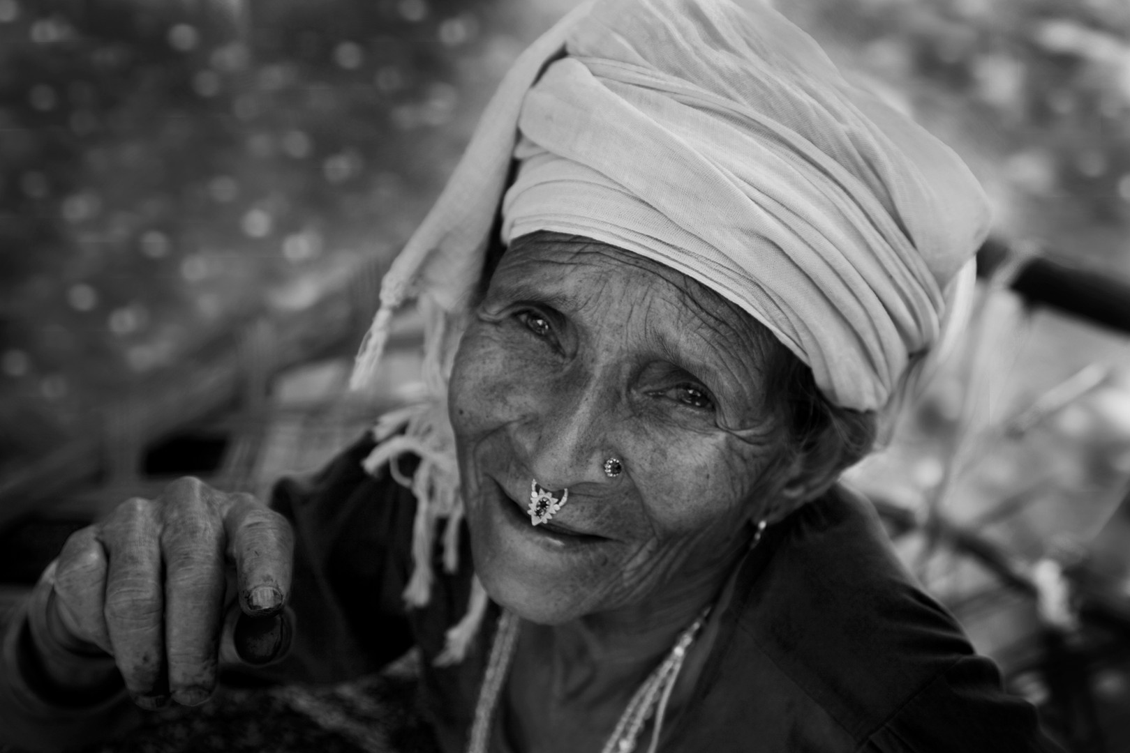 Old Woman with Fingers