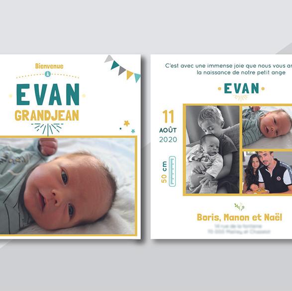 Faire-part naissance EVAN