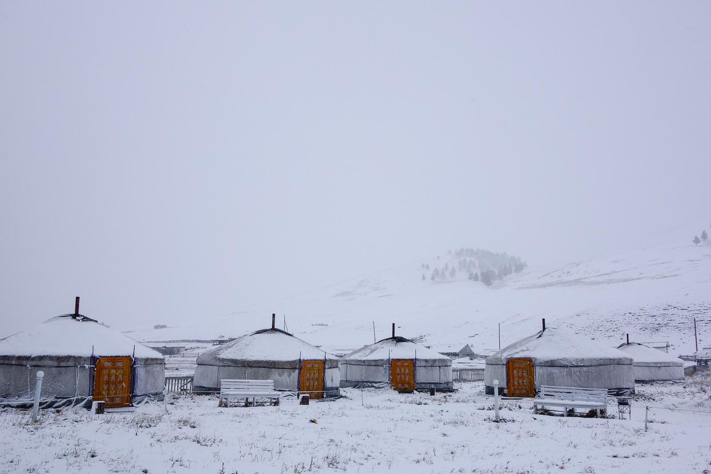 Yurt in snow
