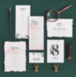 Brae wedding menu, Rachel Marvin Creative, table setting, watercolor, florals, program