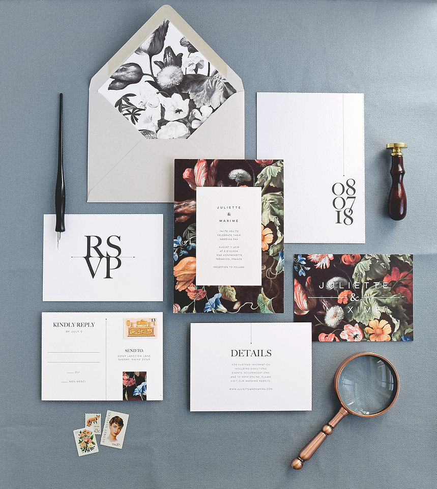Modern wedding invitation card and envelope with liner, rsvp card, info