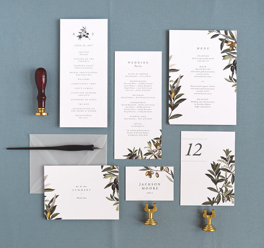 Oliva wedding program, Rachel Marvin Creative, olive branch, menu, place card, table number, thank you card