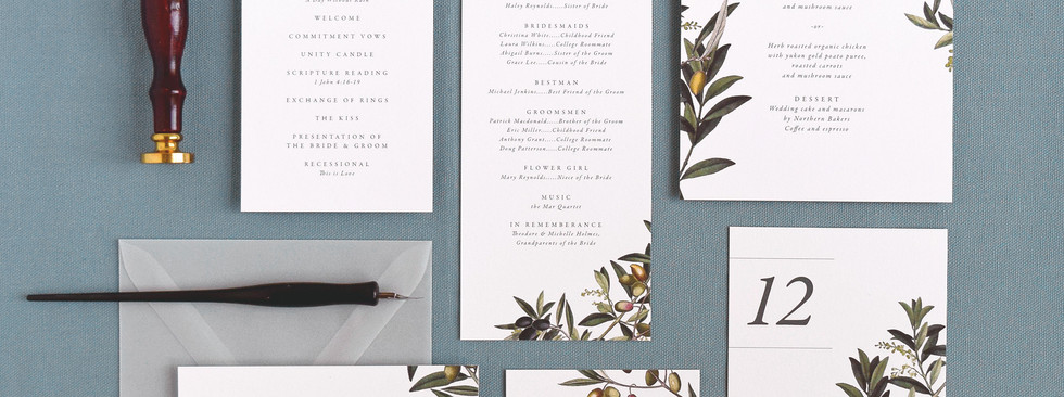 Oliva program card, menu, place card, table number, and thank you card