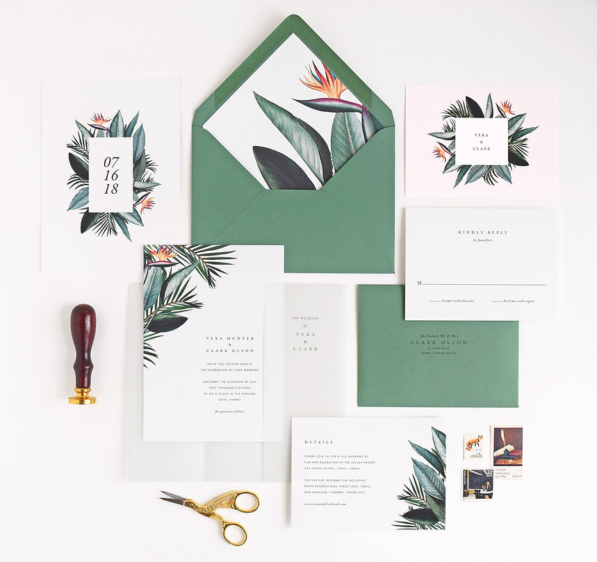 tropical wedding invitation, birds of paradis, palm leaves, stationery
