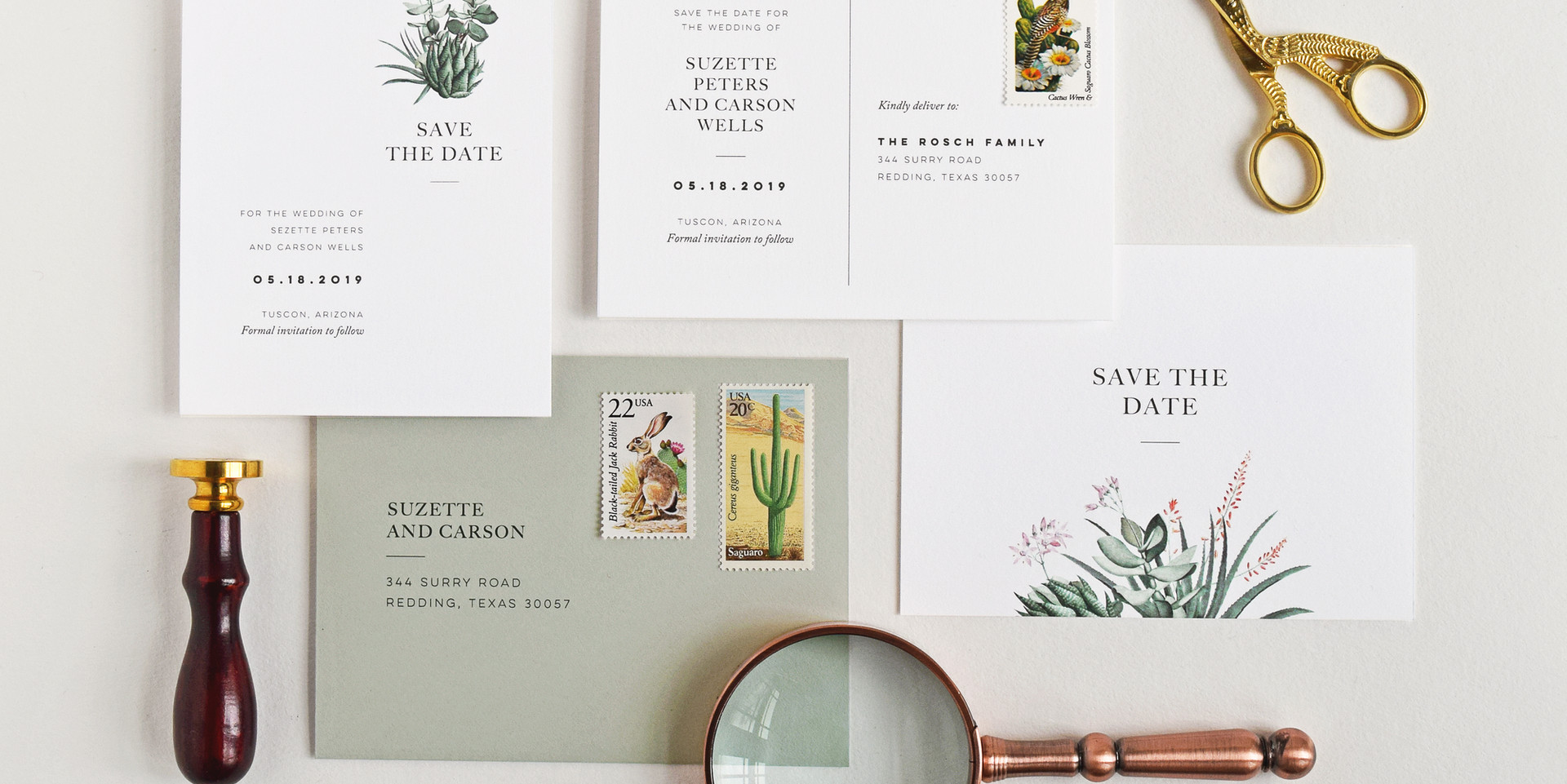 Suzette save the date card and save the date postcard