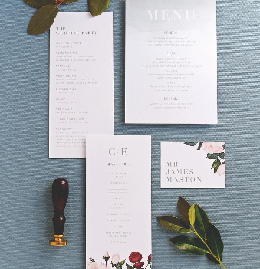 Painted Botanicals program, menu, and place card