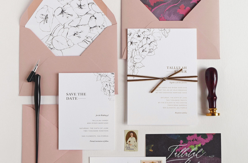 Tallulah invitation, save the date card and save the date postcard
