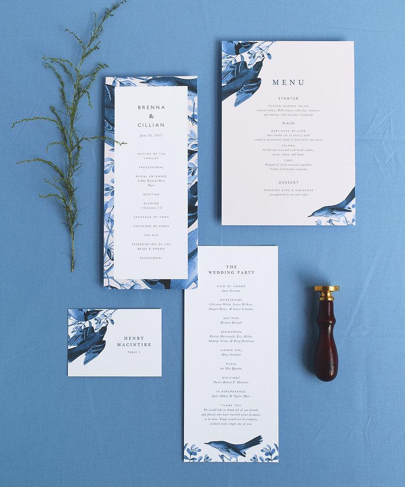 Brenna menu card, program card and place card
