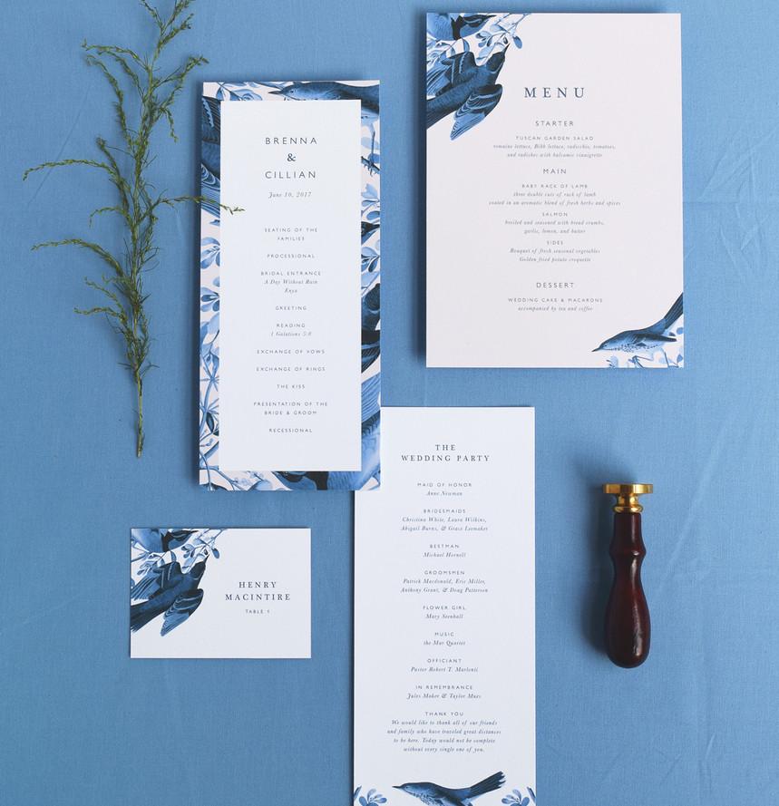 Brenna program, menu, and place card