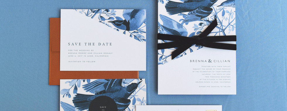 Brenna Invitation, Save the Date card and Save the Date Postcard