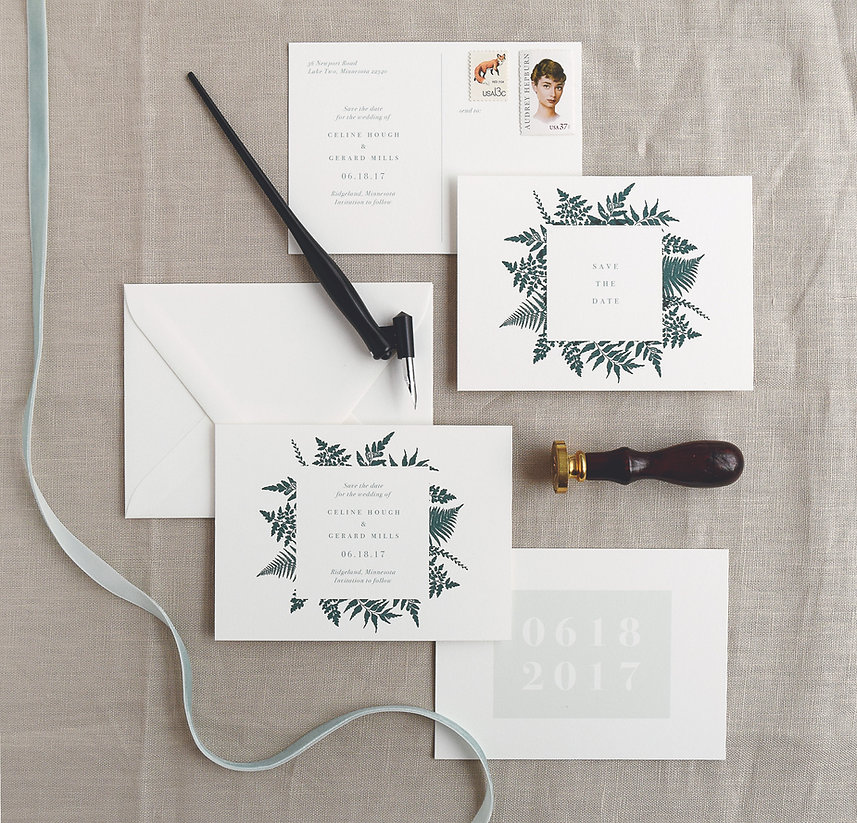Fern Save the date card with envelope, postcard, Rachel Marvin Creative