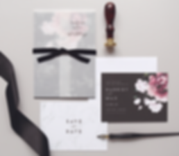Floral and Marble Wedding Invitations by Rachel Marvin Creative