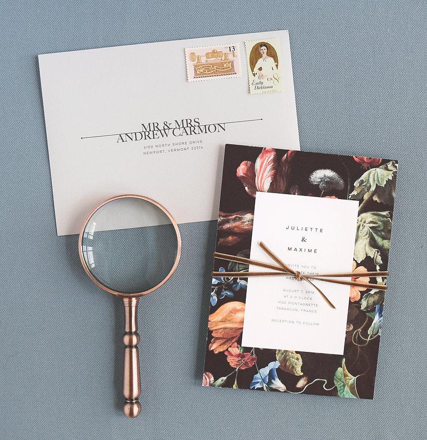 Modern wedding invite and envelope, velvet ribbon, belly band, bold typography, botanical, floral