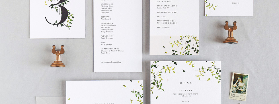 Anna program card, menu, table number, place card, and thank you card.