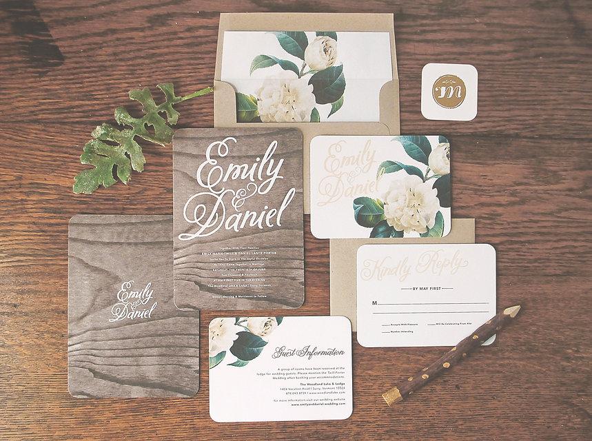 Woodland Floral Wedding Invitations by Rachel Marvin Creative