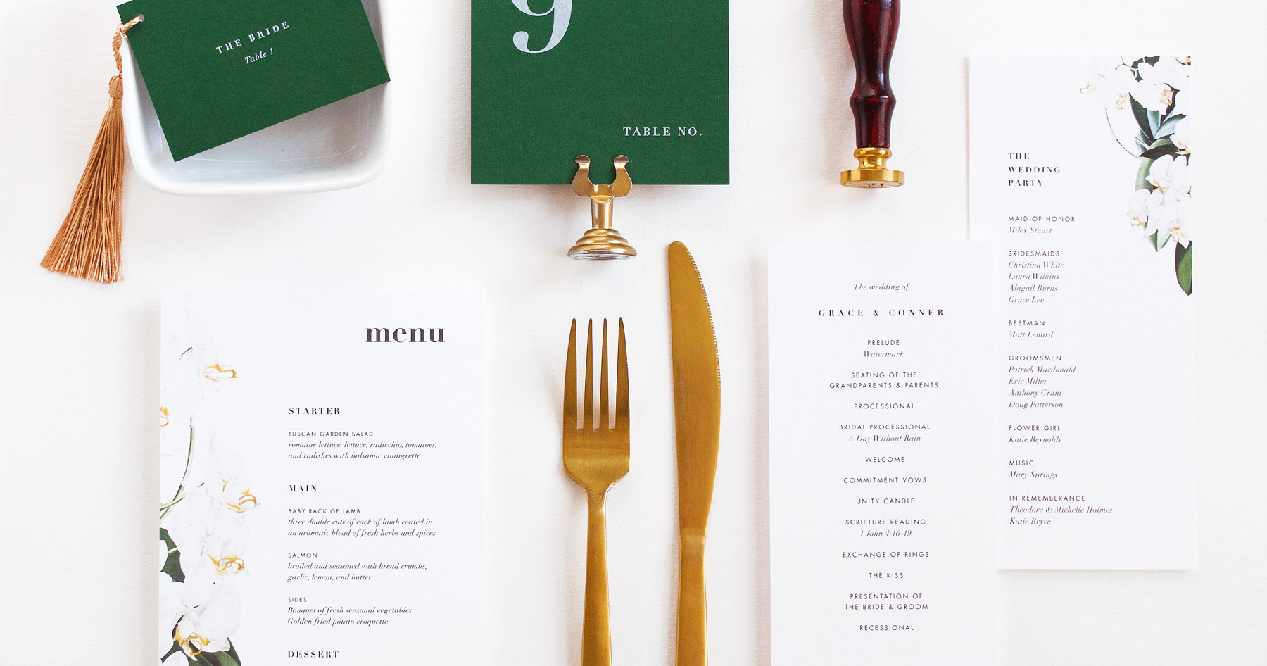 Orchid program card, menu card, place card with gold tassel, and table number.