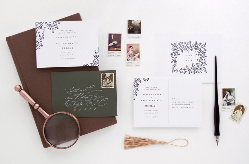 Lisbeth Save the Date card with envelope, and Save the Date Postcard