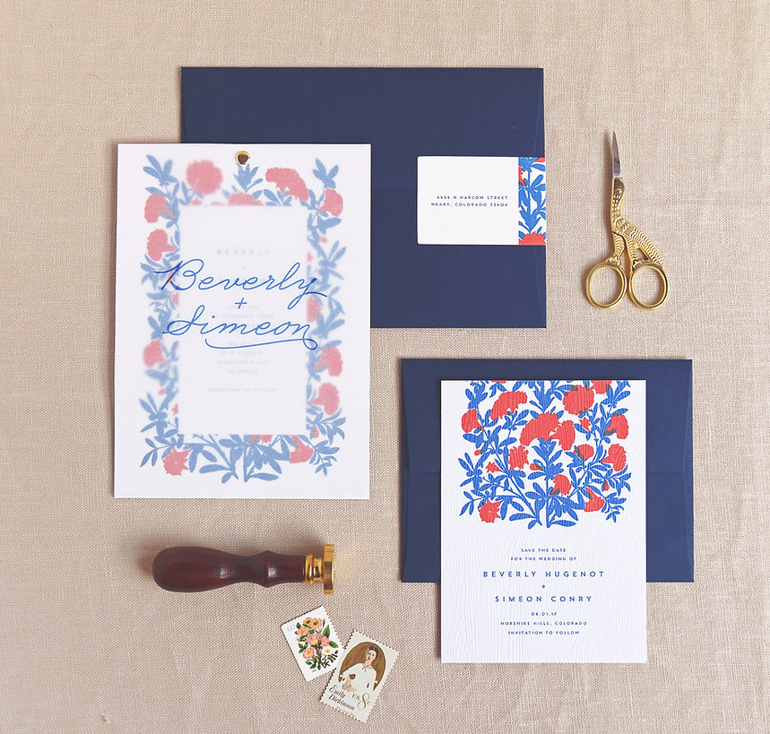 Invitation with vellum overly and brass rivet, save the date by Rachel Marvin Creative