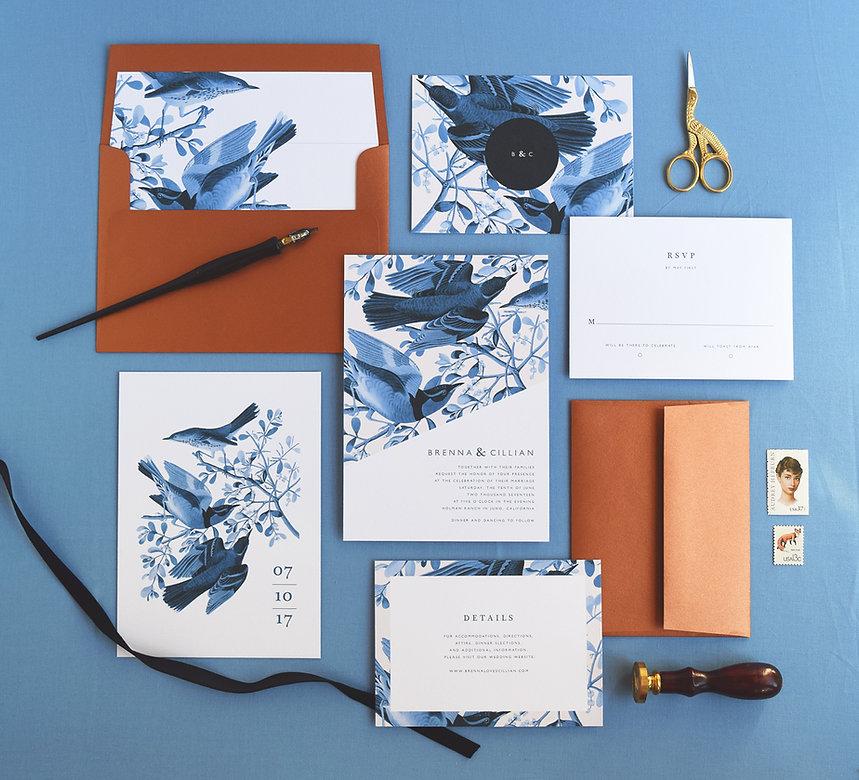 Brenna Wedding Invitations by Rachel Marvin Creative   vintage birds and copper envelopes