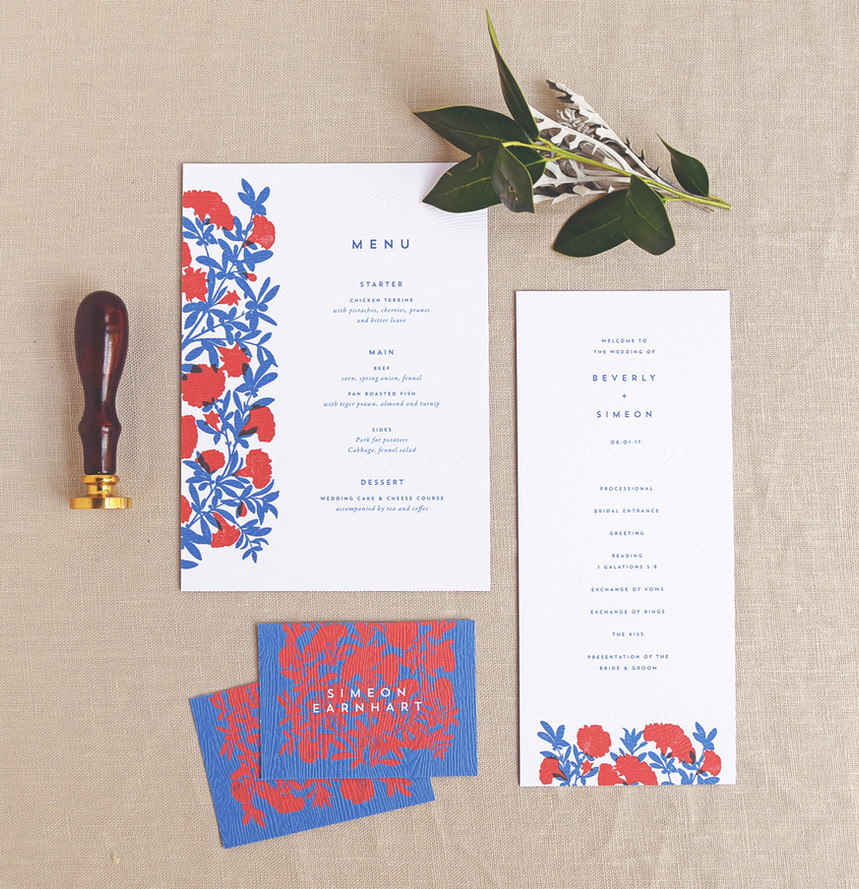 The Beverly program card, menu, and place card