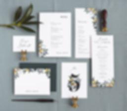 Citrus wedding menu, program, table number, place setting