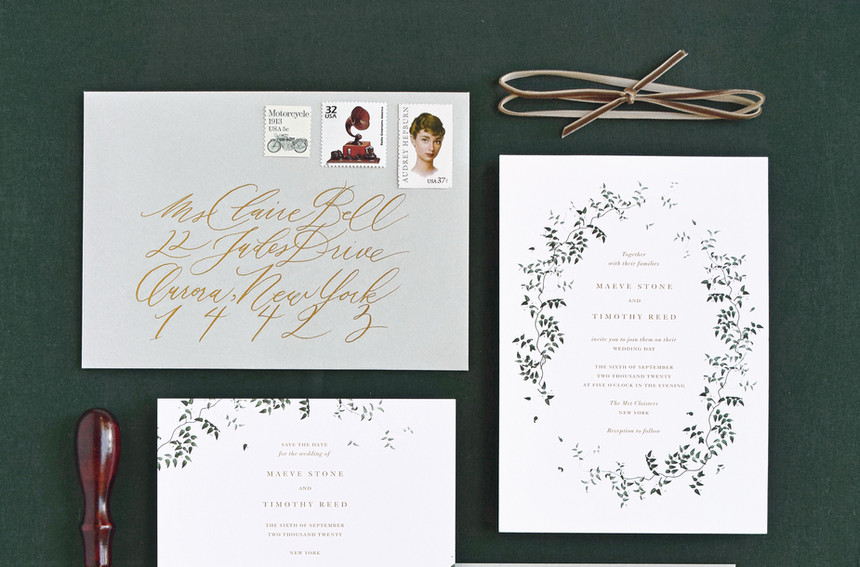 Maeve Invitation, Save the Date card, and Save the Date Postcard