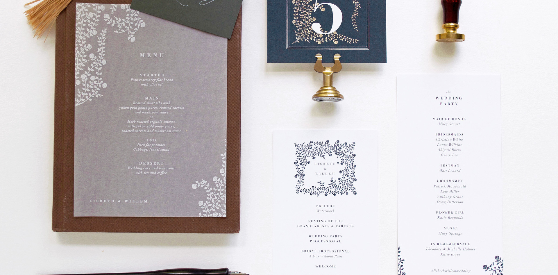 Lisbeth program card, vellum menu card, place card with gold tassel, and table number.