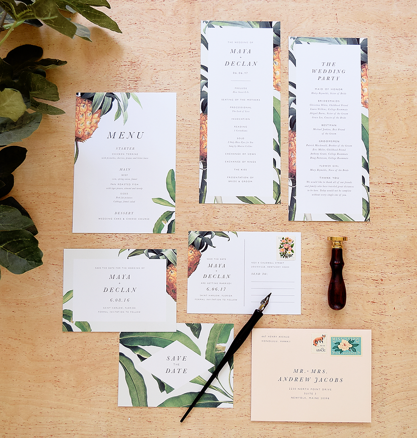 banana leaf wedding invitations, pineapple wedding theme, place setting