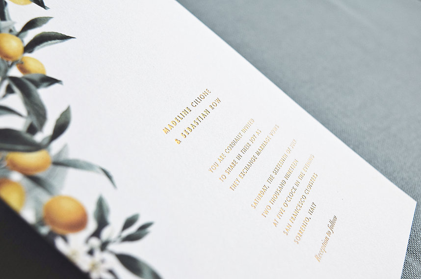 gold foil invitation, citrus invitation, lemon, orange, wedding invitation card