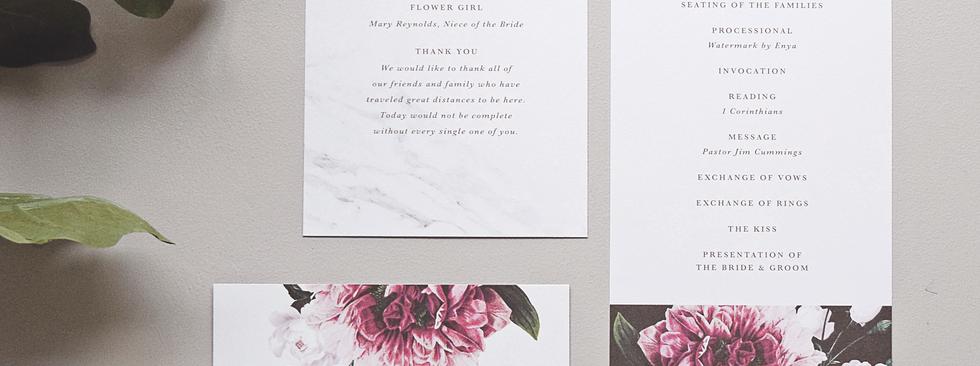 The Florence program and menu card
