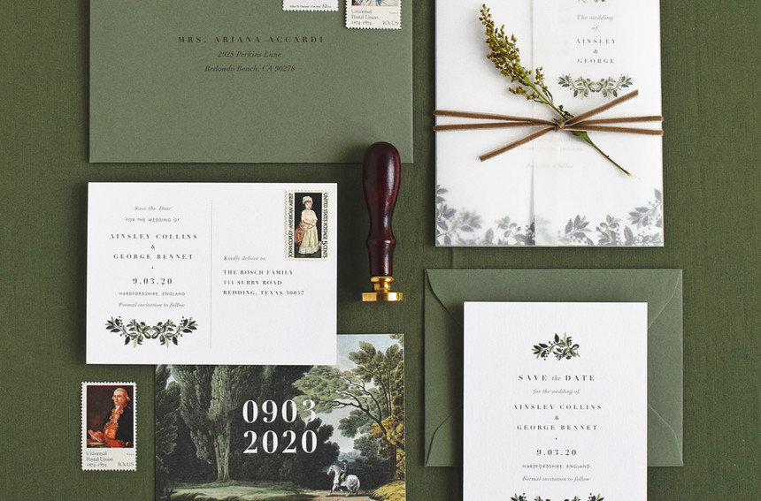 Ainsley invitation with trifold, save the date card and save the date postcard