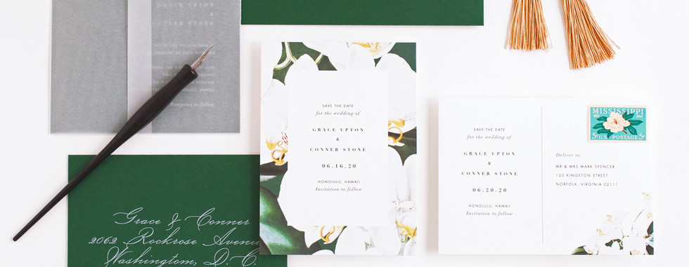 Orchid save the date card and save the date postcard