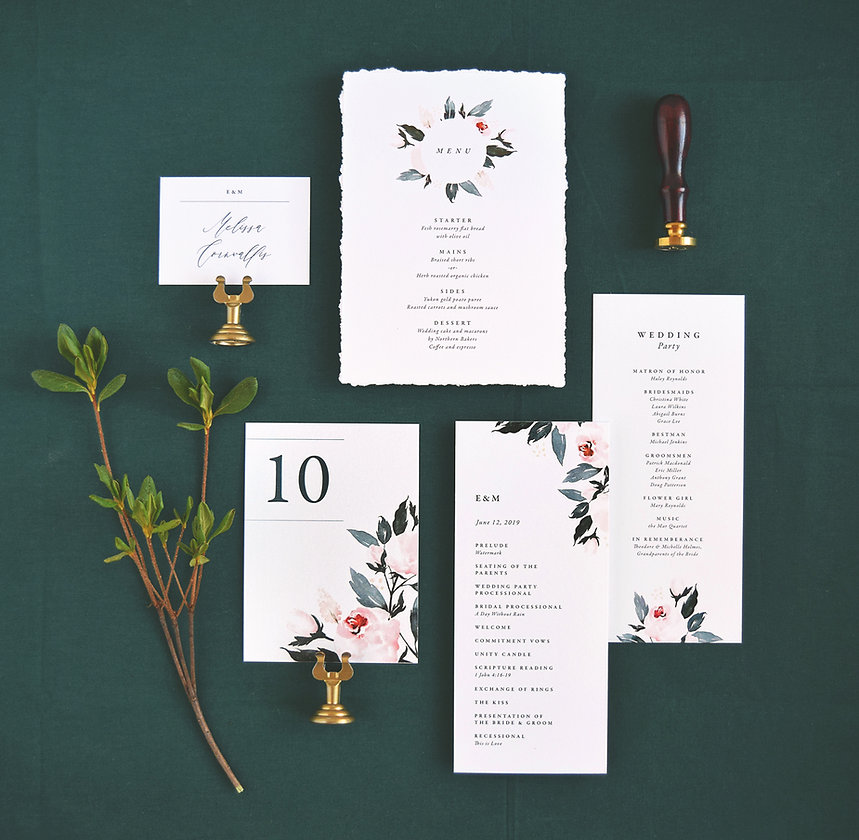 Flora menu, program, table number and place card
