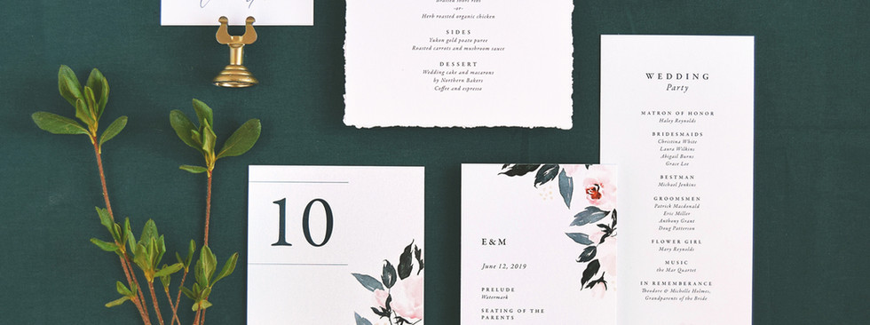 Flora program card, menu, table number, and place card