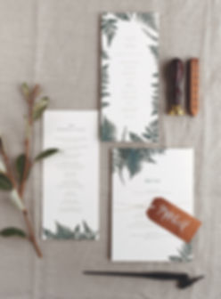 Fern menu card, program card and place card tag, Rachel Marvin Creative