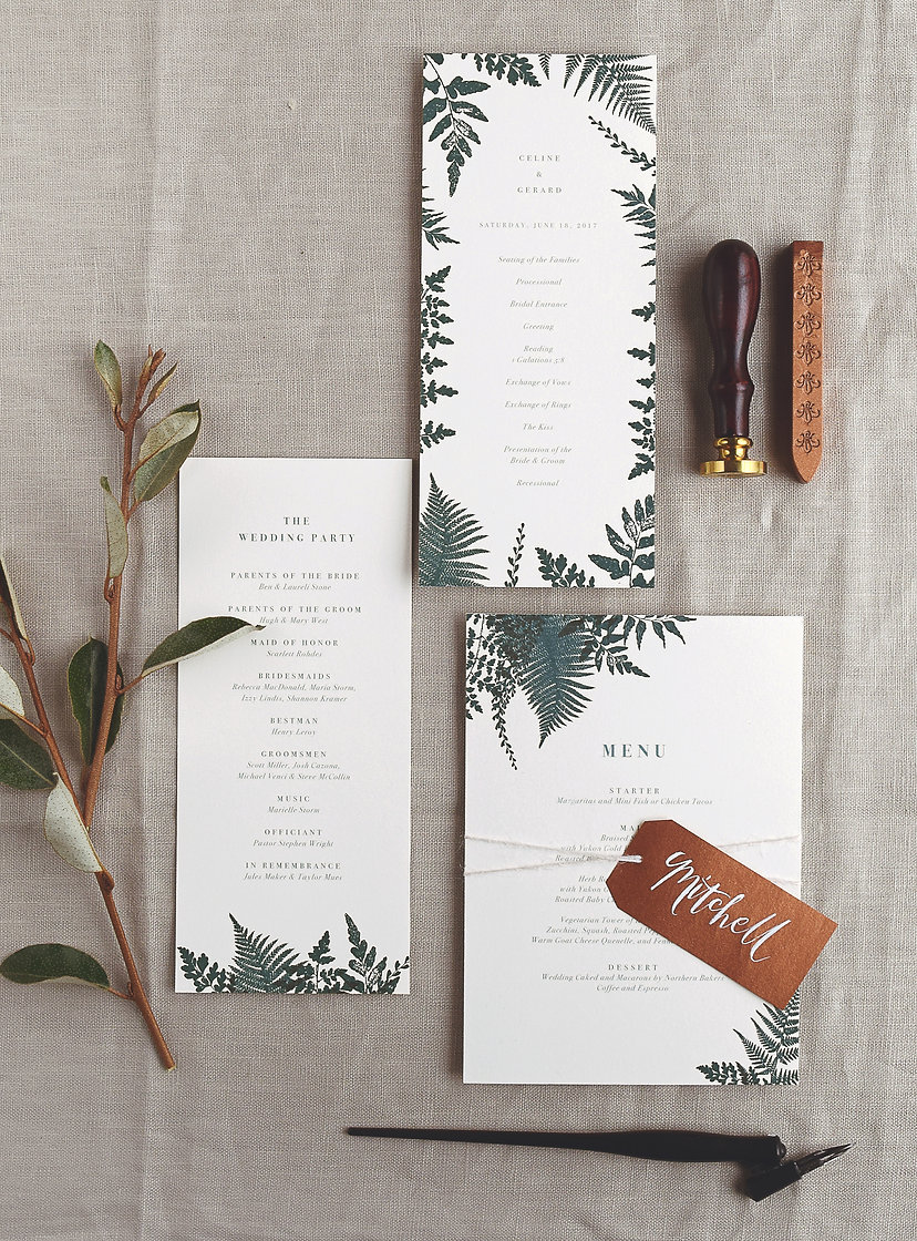 Fern menu card, program card and place card tag, Rachel Marvin Creative