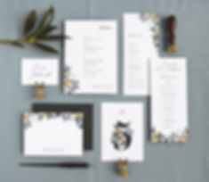 Citrus wedding day paper, flat lay, table scape, menu, program, table number