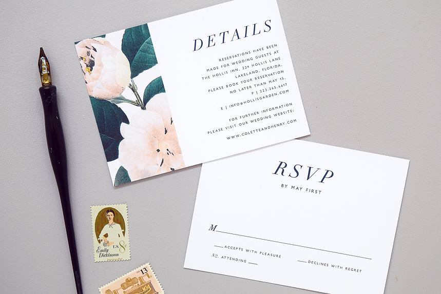 Jardin reply card and details card by Rachel Marvin Creative