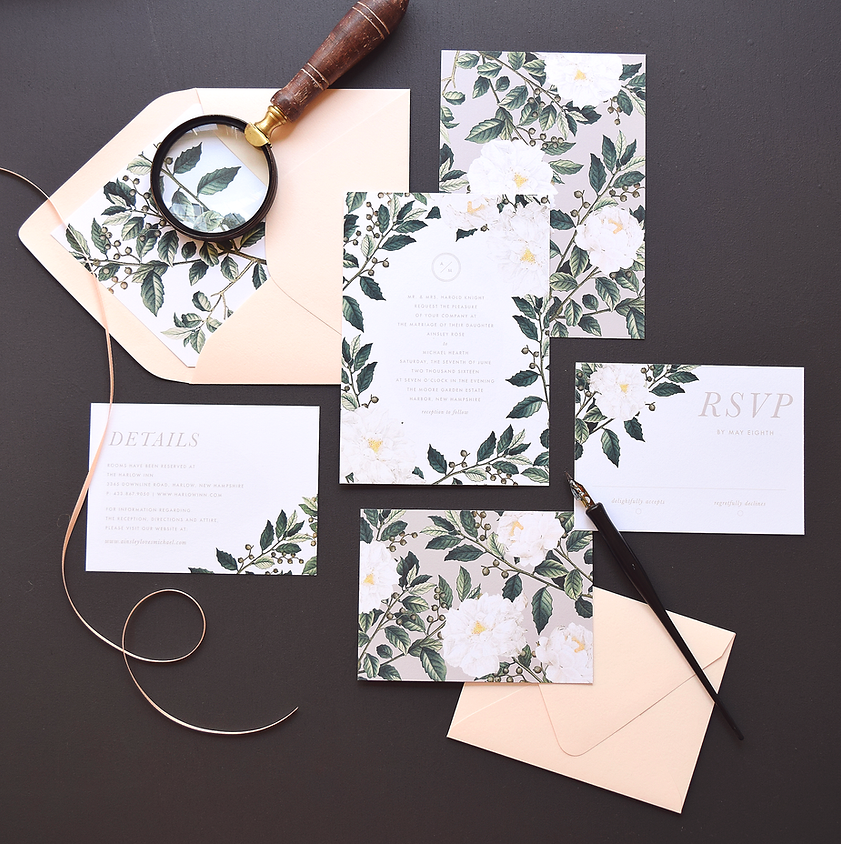Greenery, simple, wedding invitations by Rachel Marvin Creative