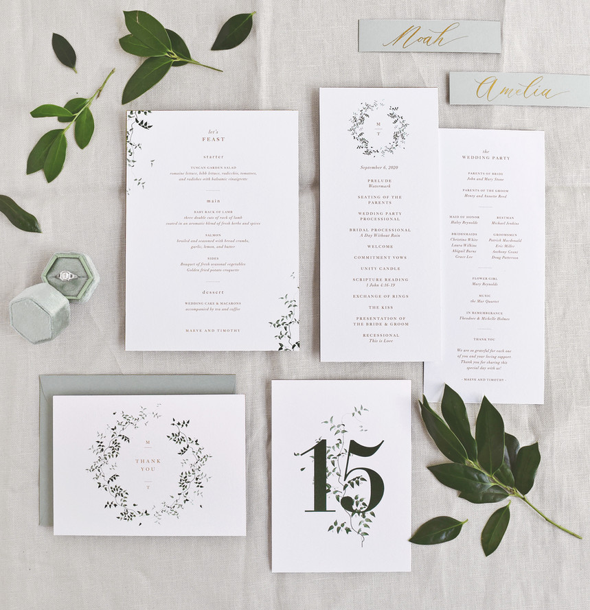 Maeve program card, menu card, place card, table number, and thank you card
