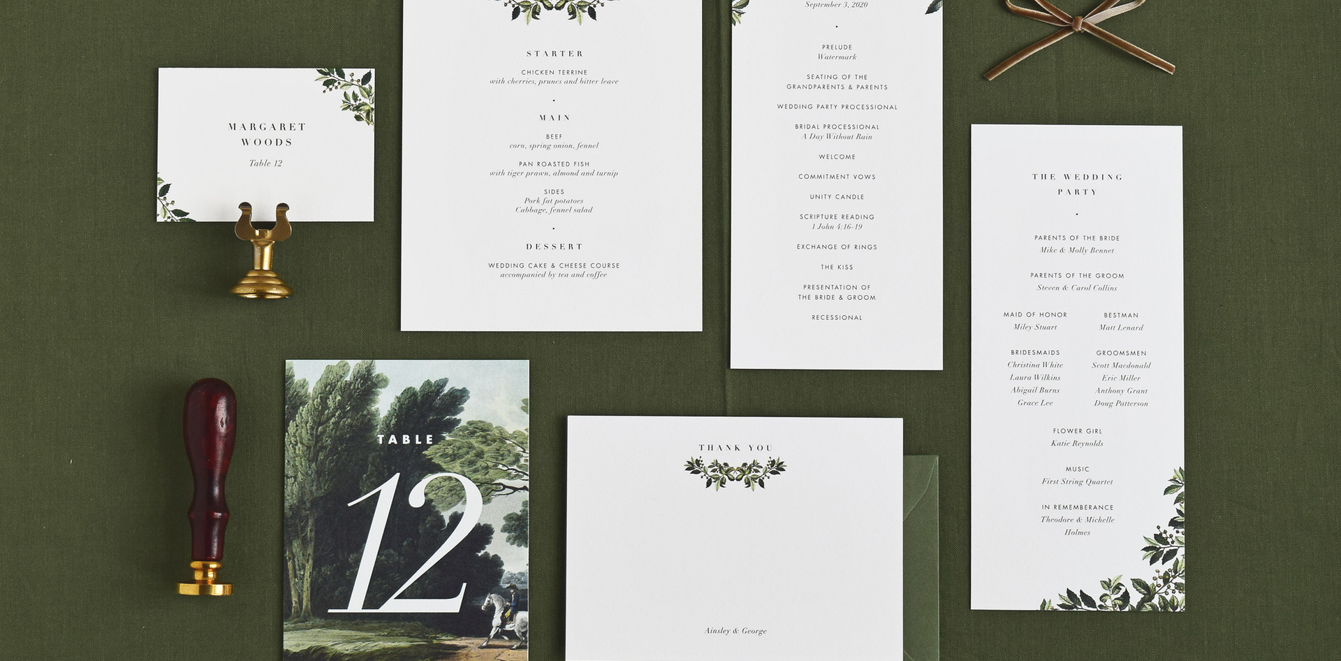 Ainsley menu card, program card, table number, place card, and thank you card